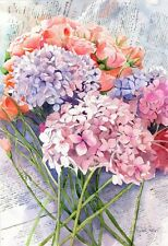 Original Hydrangea Floral Flower Still life Painting Fine Art Watercolor