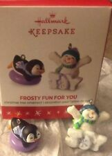 2016 Hallmark FROSTY FUN FOR YOU 2 Mini Ornaments VIP Limited Ed Snowman NIB