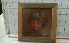 Listed Artist DONALD FERRIS ALLAN Rare Child Portrait 6x6 framed Beautiful Face