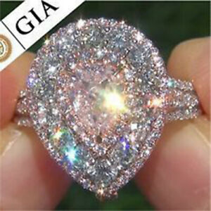 Fashion Women Pink Sapphire 925 Silver Ring Wedding Engagement Jewelry Size 7