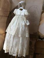 Baby Infant Girl Toddler Christening Baptism Bonnet Formal Dress White 18-24 M