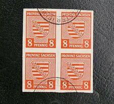 TIMBRES D'ALLEMAGNE : SACHSEN / SAXE 1945 N° 5 YVERT EN BLOC DE 4 Oblitéré - ND
