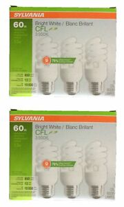 Sylvania CFL Bulb 60W Replacement Bright White 3500K Medium Base 6 Bulbs