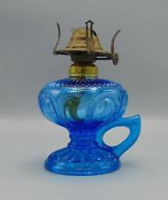 Imperial EAPG 60's Reproduction Zipper Loop Finger Oil Lamp Blue Glass