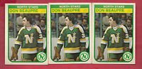 3 X 1982-83 OPC # 163 NORTH STARS DON BEAUPRE 2ND YEAR  GOALIE  CARD