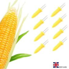 8 Pcs CORN HOLDERS Stainless Steel Corn On The Cob Skewers BBQ Prongs Forks UK