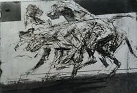 SIGNED VINTAGE ABSTRACT EXPRESSIONIST MODERNIST # ETCHING  RUNNING GREYHOUNDS