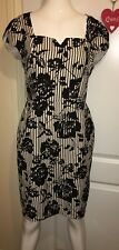 Paper dolls black & white Rose patterned & striped dress smart size 12 free post