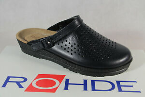 Rohde / Beck Women Clogs Slippers House Shoes Sabot Leather Blue Wide G New