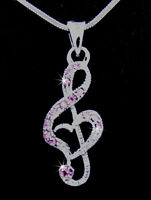 G Clef Love Music Note Heart Austrian Crystal Silver Tone Pendant Necklace Pink