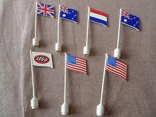 7 x genuine lego vintage flag on flagpole lot british 777px8 american 776p15