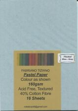 "A Pack of 16 sheets of "" FABRIANO TIZIANO PASTEL PAPER "" Flecked Blue-Grey "" ."