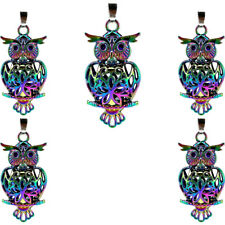 C132-5PCS Rainbow Color 41mm Big Owl Magnetic Pearl Oysters Cage Pendant Locket