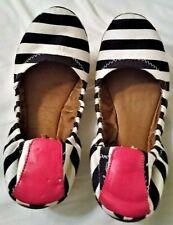 Lucky Brand Women's 7 Slip On Ballet Flats Shoes Black and White Stripes