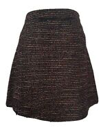 Nutmeg Multi Boucle Tweed A-Line Mini Skirt Wool Blend Faux Leather Trim Size 14