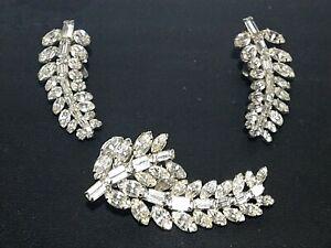 Ledo Rhinestone Brooch And Earrings Set  Signed Vintage Jewelery