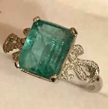Estate 2.50CT NATURAL EMERALD & Real DIAMONDS  10K Solid White Gold Ring SZ 6.5