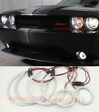6 Halo Rings LED For Dodge Challenger 08-14 Headlight Fog Lights Angel eyes DRL