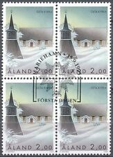 Aland Finland 1995 Used Block of 4 Stamps - Geta Church - First Day Cancel