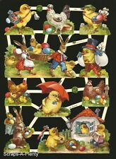 German Embossed Vintage Style Scrap Die Cut - Easter Bunny Chicks  EF7421