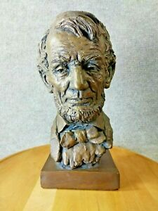 Exceptional - Jo Davidson Abraham Lincoln Bust Sculpture Bronze Colored - Signed