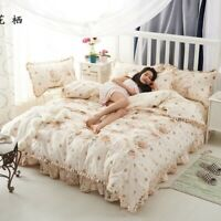 Floral Duvet Cover Set Cotton Bedding with Zipper 4 Pcs  Duvet Cover Bed Sheet