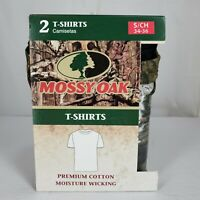 Mossy Oak Mens Crew Neck 2 Pack T-Shirt Small Black and Camo Short Sleeves NWT