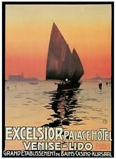 EXCELSIOR LUXURY HOTEL ITALY Vintage Italian Travel Poster CANVAS PRINT 24x31 in