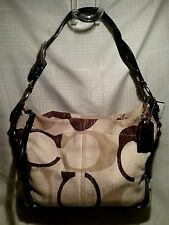 Coach Signature Carly Tonal Khaki Linen Hobo Shoulder Bag Purse A0826