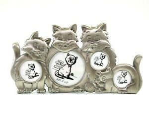 Silver Photo Frame 4 Cats Easel Back Picture Display