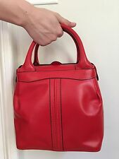 Valextra Red Leather Punch Box Bag, RARE!!! Collector's Item!