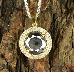 Black Diamond 12.98 Ct Solitaire Gold Finish  Pendant