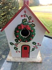 Christmas bird house Holiday birdhouse vintage preowned fixer upper