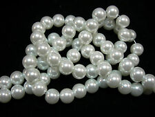 "White 8mm Glass Pearls beads WOW 30"" strand"
