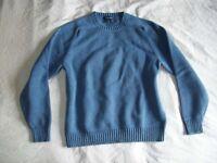 LANDS END Sweater 100% Baumwolle Stone Blue Size Medium 36-40 Winter Top