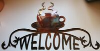 "Coffee Cup Ornamental Welcome Sign  approx 23 3/4"" across and 13"" tall"