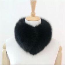 Real vulpes lagopus Fox Fur Collar Women Scarf Shawl Stole Wrap Furry Warm Black