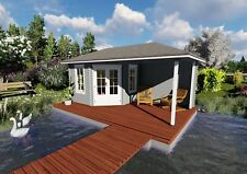 5-Eck Gartenhaus Modern Seitendach, 5.8x3M Blockhaus Holz 28mm Erfurt EB28043soF