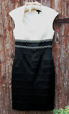BLACK IVORY SATIN WRIGGLE BANDAGE STRETCH BODY CON DRESS JAX US4 UK 8-12 BNWT
