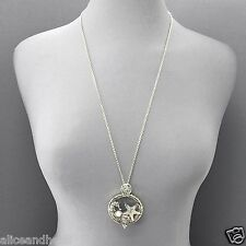 Long Silver Chain Sea Horse Starfish Sea Life Magnifying Glass Pendant Necklace