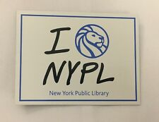 I Love NYPL magnet - New York Public Library with blue lion icon