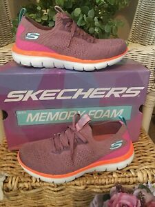 SKECHERS SPORTS DUAL LITE FLAT KNIT SLIP ON TRAINERS🎀ROSE PINK🎀Size UK 5 NEW