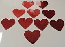 25 Valentine Red Love Hearts Waterproof Peel Off Shiny Stickers Self Adhesive