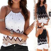 Women Summer Loose Halter Neck Sleeveless Casual Tank T-Shirt Blouse Tops Vest