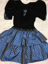 096c754f3345 Vintage 1980s Scott McClintock Black Blue Vekvet Metallic Poofy Prom Dress