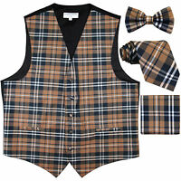 New Men's plaid checkers tuxedo Vest Waistcoat _necktie_Bow tie_Hankie Brown
