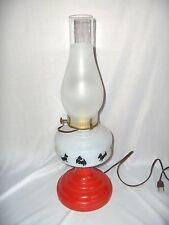 Vintage Scottie Dogs Hurricane Lamp Oil To Electric 3-Way Red Base NICE