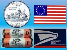 2000 VIRGINIA P & D OFFICIAL US MINT STATEHOOD QUARTER ROLL SET - UNOPENED BOX