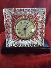 Exceptional FLAWLESS Ireland WATERFORD Crystal CLOCK Mahogany  Wood Base Olive