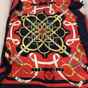 Hermes Neck Head Scarf Ladies Red Black Multi Patterned 88cm x 89cm 022398